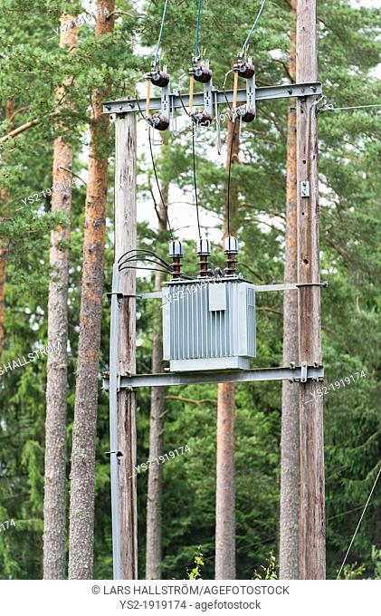 Substation for electricity distribution in the woods, Sweden