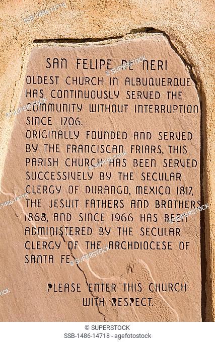 USA, New Mexico, Albuquerque, Old Town, San Felipe de Neri Church, Information plaque