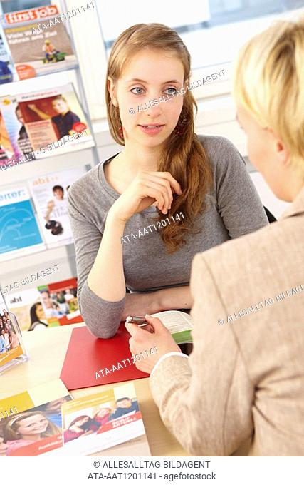 Young girl at career counseling office