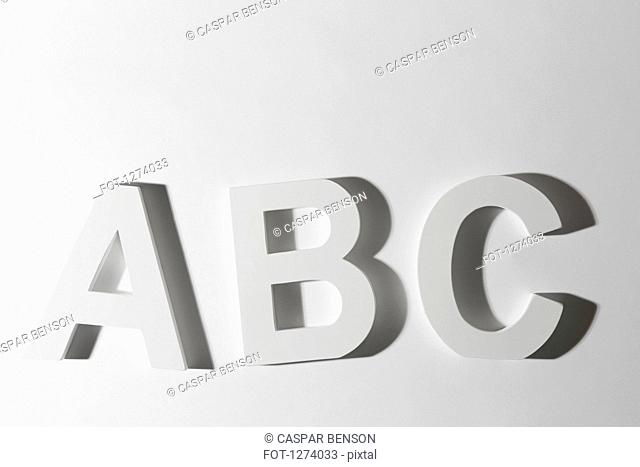 White block letters spelling ABC