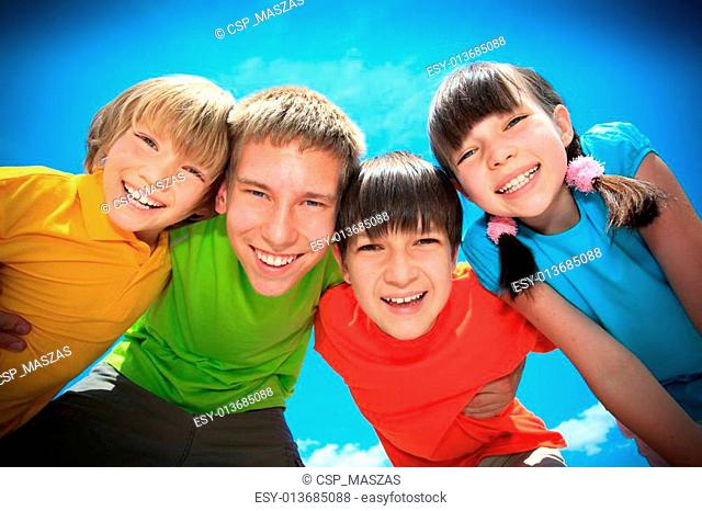 Children in colorful shirts