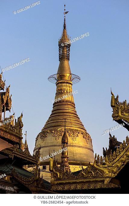 Golden stupa at the Shwedagon pagoda, Yangon, Myanmar