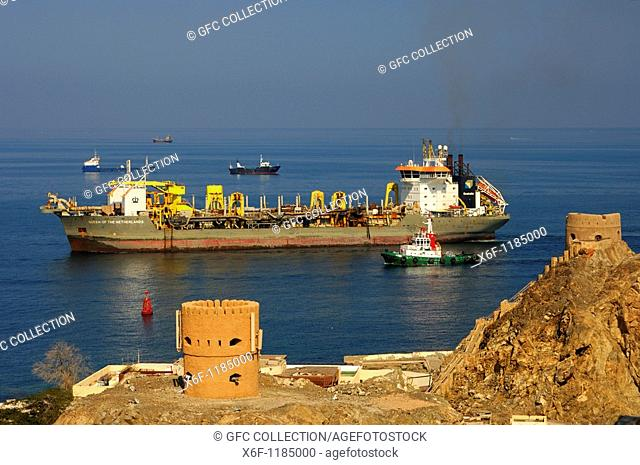 Dredger 'Queen of the Netherlands' entering the harbour of Sultan Qaboos, Muscat, Oman, Middle East