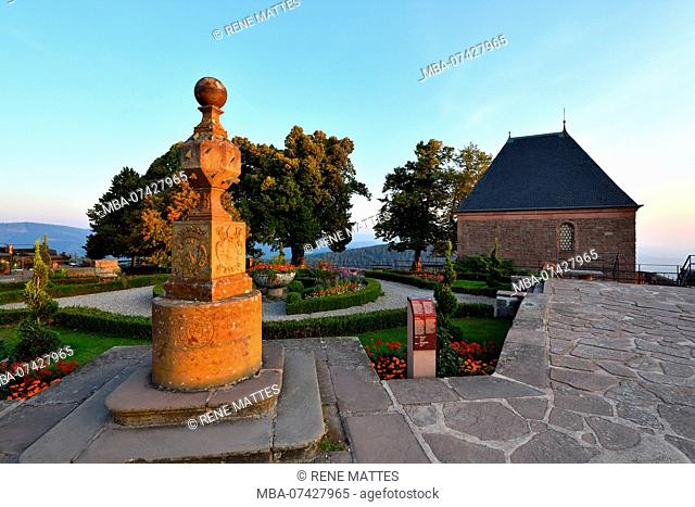 France, Bas Rhin, Mont St Odile, Sainte Odile convent, geographical sundial with 24 faces and the the Chapel Of Angels