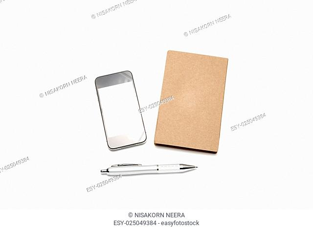 smart phone with small notebook and pen