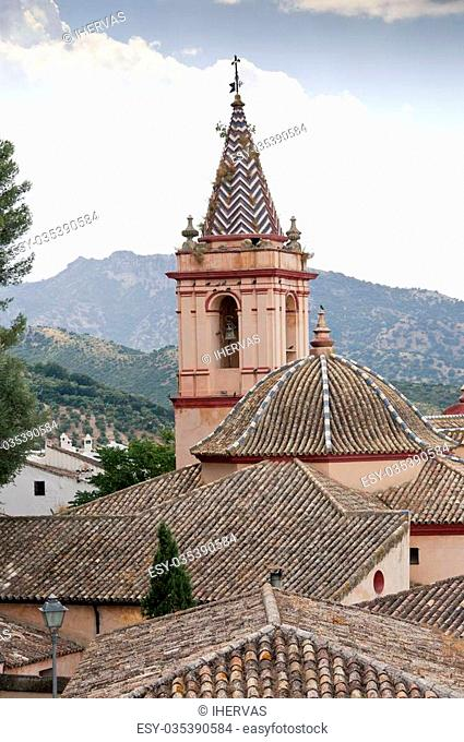 Santa Maria de la Mesa Church in Zahara de la Sierra, Spain. This village is part of the pueblos blancos -white towns- in southern Spain Andalusia region