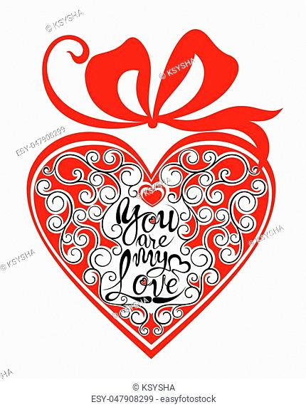 Valentine Banner with love phrase in heart