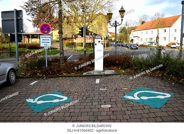 Charging station for electric cars. Hammelburg, Bavaria, Germany