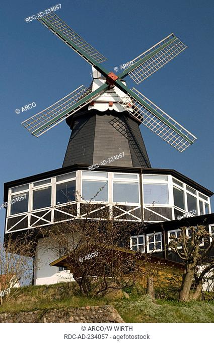 Wind mill, Baltic sea spa town Laboe, Bay of Kiel, Schleswig-Holstein, Germany