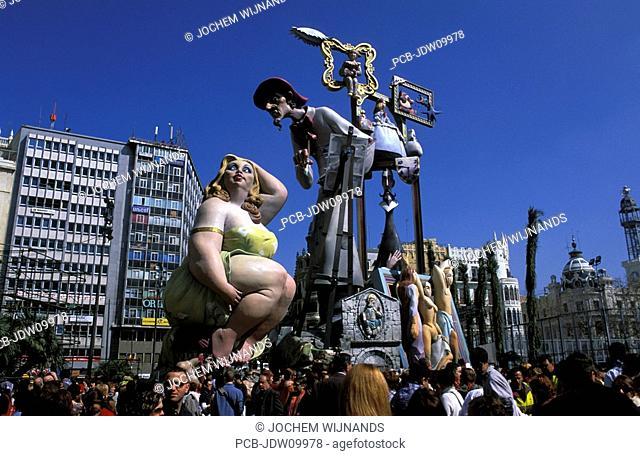 Valencia, ninots at the Las Fallas festival on Saint Josephs Day