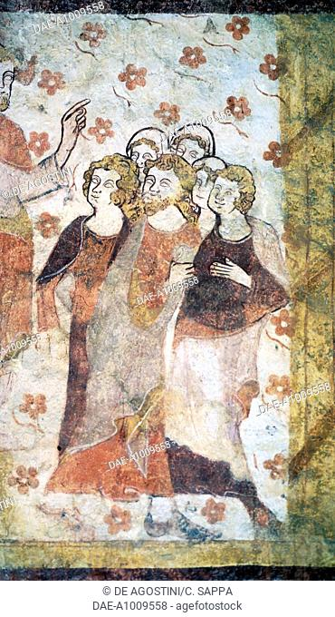 Fresco in Saint Pierre and Saint Paul church, Moutiers-en-Puisaye, Burgundy. France, 12th-14th century. Detail
