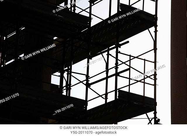 silhouette of scaffolding on building construction site