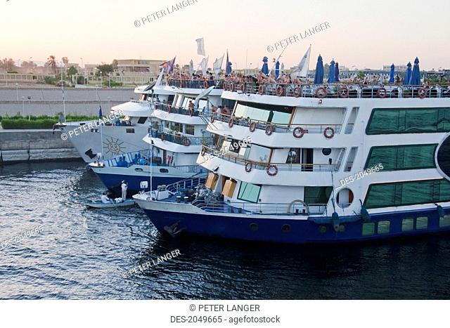 River Cruise Boats By The Esna Locks On The Nile River, Qina, Egypt