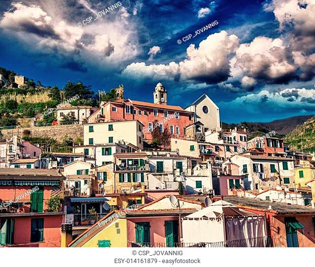 Quaint Village of Vernazza, Cinque Terre. Beautiful colorful homes of Town center