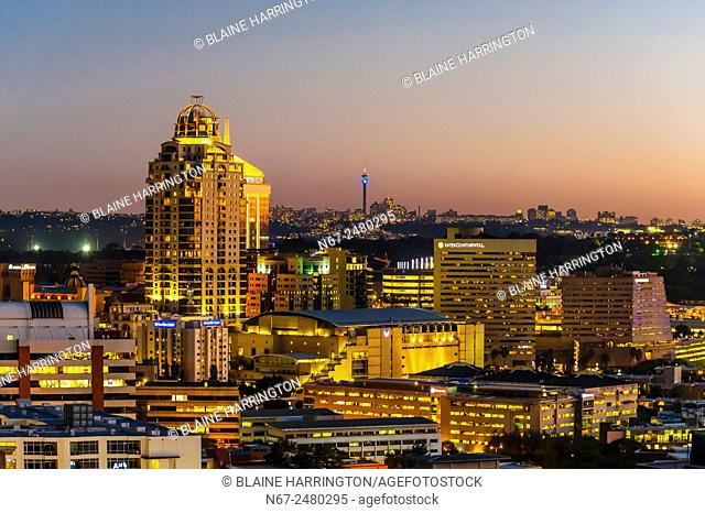 Skyline of Sandton, Johannesburg, South Africa. Sandton is one of the most opulent areas of Johannesburg. It is the new financial district of South Africa and...