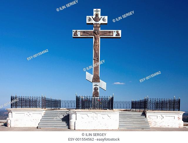 Orthodox cross. Russia. Perm. White mountain