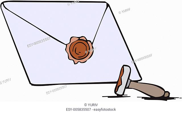 Blank envelope with seal of sealing wax