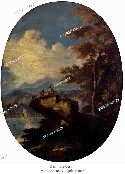Seascape with Rocky Outcrop, by Unknown Artist close to Amico di Lissandrino, 1725 - 1750, 18th Century, oil on canvas. Italy, Lombardy, Milan