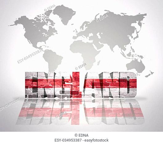 Word England with english Flag on a world map background