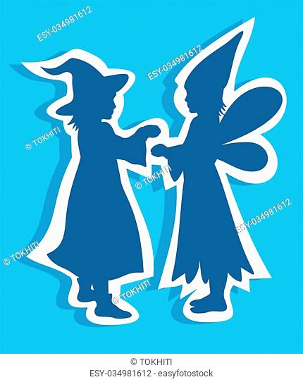 Two children silhouettes on a blue background. Halloween illustration