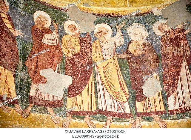 Mural paintings. Iglesia de los Santos Julian y Basilisa en Bagüés (Zaragoza), Diocesan Museum, Museo Diocesano, Jaca, Huesca province, Aragón, Spain, Europe