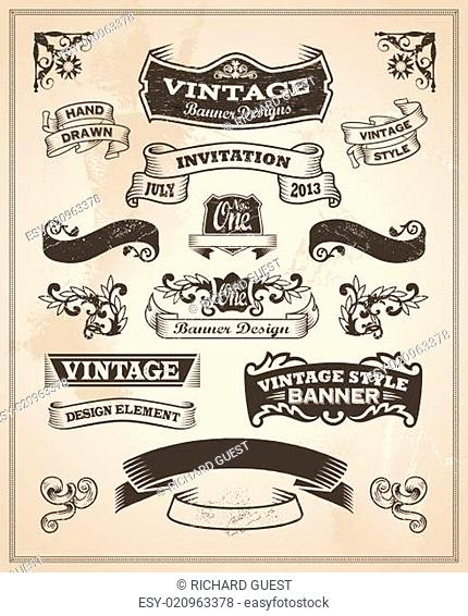 Retro vintage banner and ribbon set