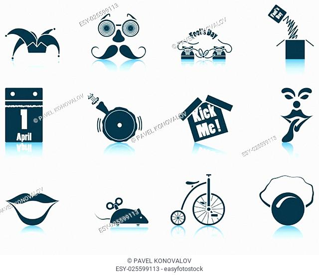 Set of twelve April Fool's day icons with reflections. Vector illustration