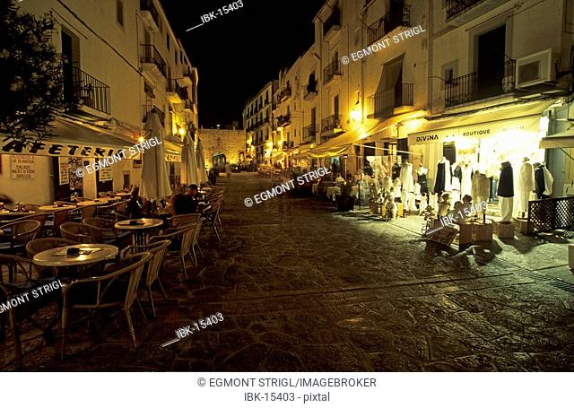 Lane at the historic center of Eivissa, Dalt Vila, Ibiza, Spain