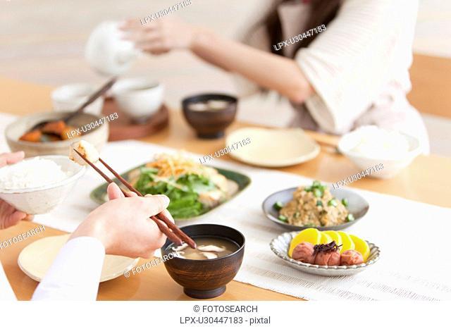 Couple Having Breakfast, Focus on Hands