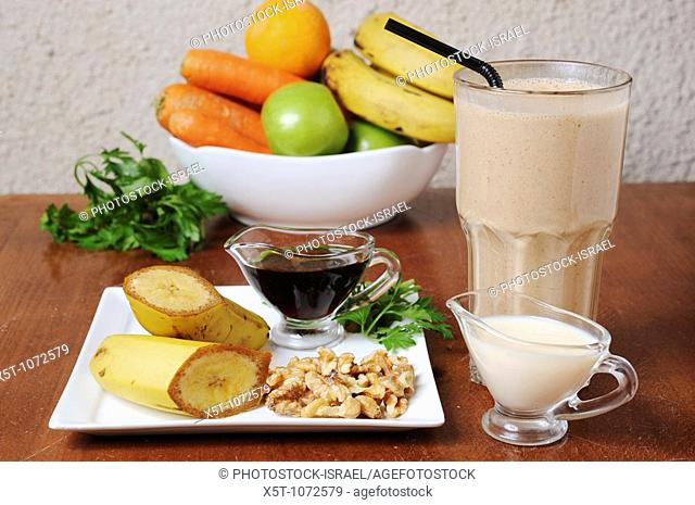 Organic Health Food meal  Fruit, vegetables and a shake drink