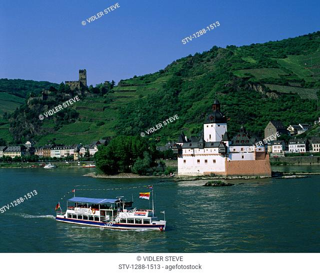Boat, Boating, Castle, Ferry, Germany, Europe, Hills, Holiday, Kaub, Landmark, Pfalz, Pfalzgrafenstein, Rhine, River, Ship, Tour