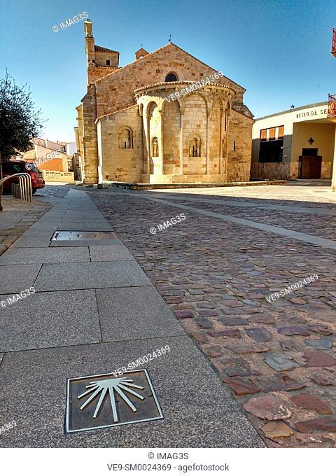 Santa Maria la Nueva church and Way of St. James sign, Zamora, Spain