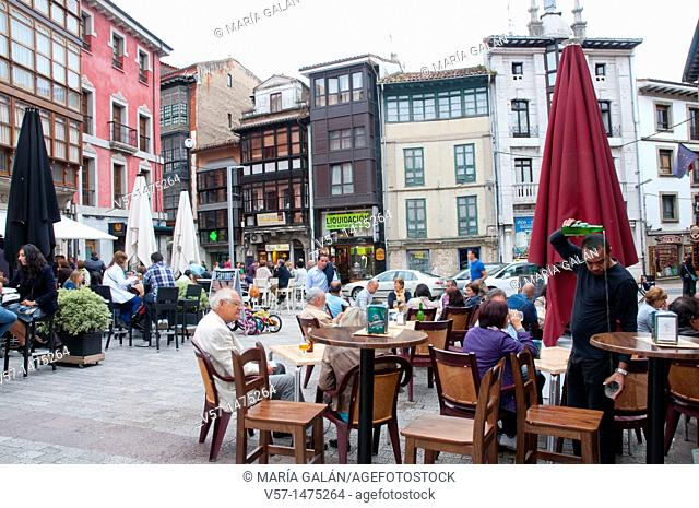 Terraces at Main Square. Llanes, Asturias province, Spain