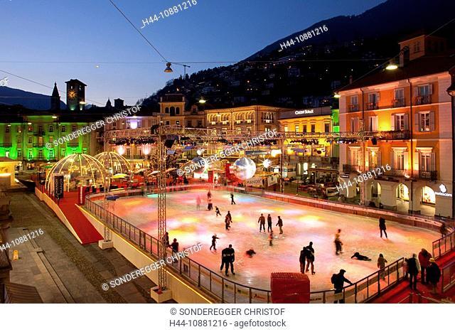 Locarno, TI, Christmas, ice, arrangement, winter sports, canton Ticino, Switzerland, evening, ice, surface, skating, figure skating, lights, skating, ice rink