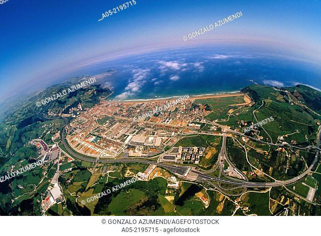 Aerial view of Zarautz, Guipuzcoa, Basque Country, Spain