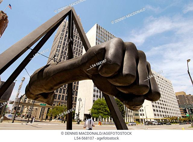 Fist of boxing great Joe Lewis memorial in Downtown Detroit (Michigan) as viewed from the Hart Plaza symbolizing Michigan's Labor Legacy Landmark. USA