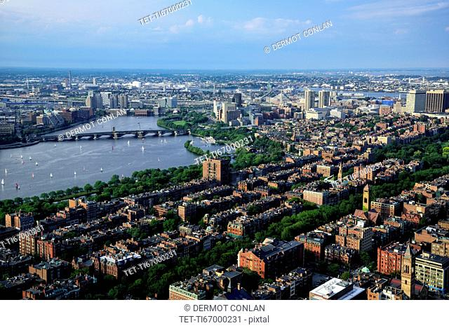 Elevated view over Back Bay, Beacon Hill and Charles River