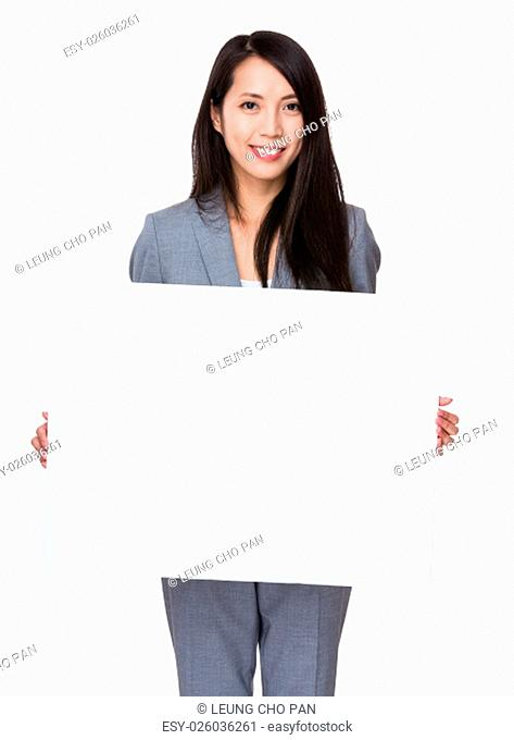 Young Businesswoman hold with white board