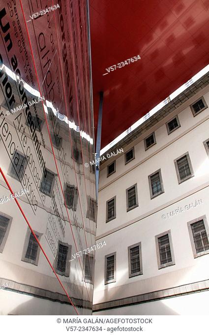 Facade of Centro de Arte Reina Sofia National Museum. Madrid, Spain