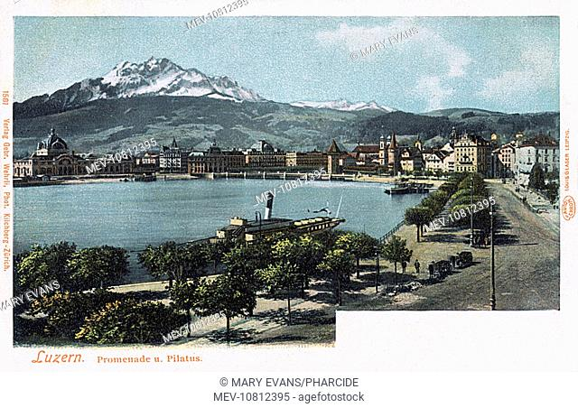 Promenade, with a distant view of the Pilatus Mountain, Lucerne, Switzerland