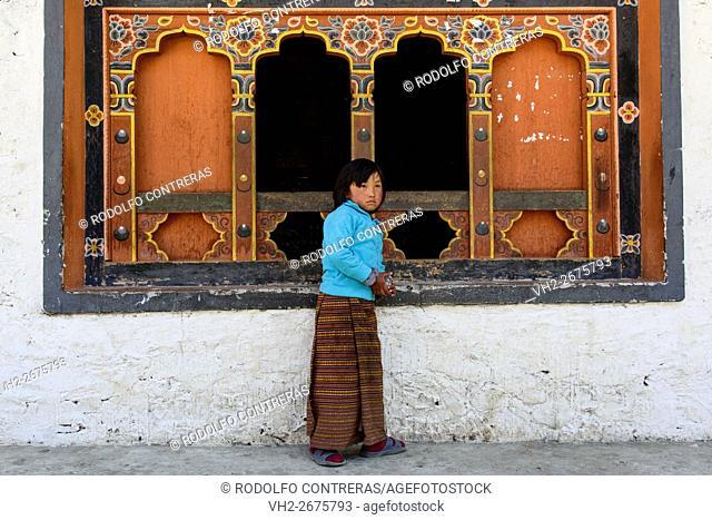 Girl at a shop in Bhutan