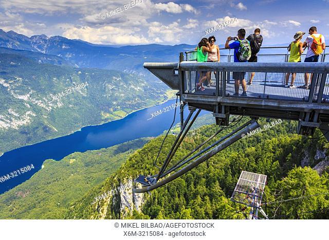Lake Bohinj from Vogel ski area. Triglav National Park. Upper Carniola region. Slovenia, Europe