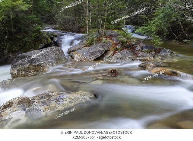 "Just above """"The Basin"""" viewing area along the Pemigewasset River in Franconia Notch State Park of Lincoln, New Hampshire USA during the autumn months"