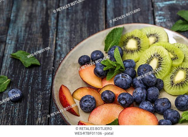 Plate with blueberries and slices of kiwi and nectarine