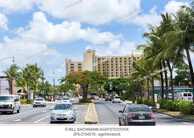 Guam USA Territory traffic on Main Street in Tumon Bay in tourist district of country