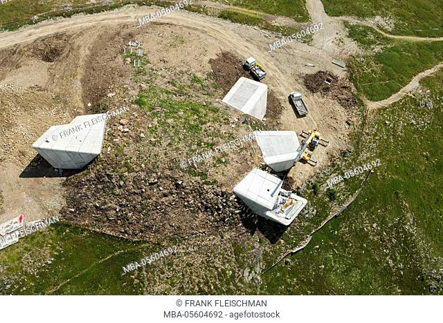 Messner Mountain Museum, Kronplatz, Bruneck, mountaintop, mountain museum, architecture, South Tirol, aerial picture, Italy