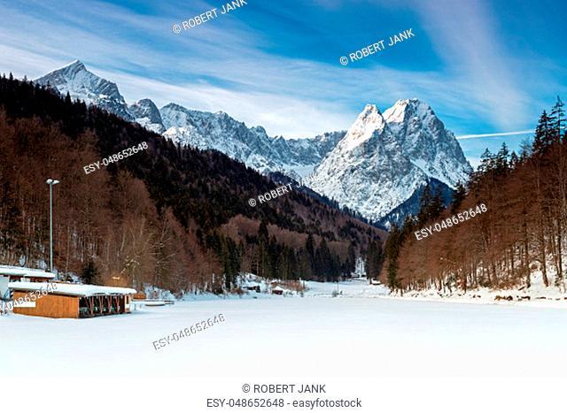 Frozen lake Riessersee near Garmisch Partenkirchen in winter