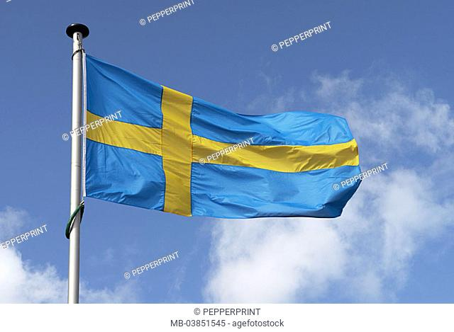 Flag, national-flags, Swedish, flagpole, heavens, clouds, 04/2006