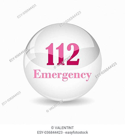112 Emergency icon. Internet button on white background