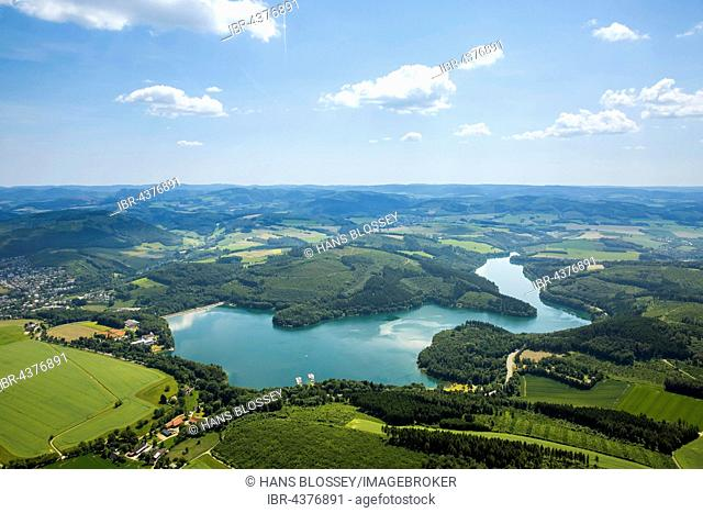 Aerial view of Lake Hennesee, seascape, Meschede, Sauerland, North Rhine-Westphalia, Germany